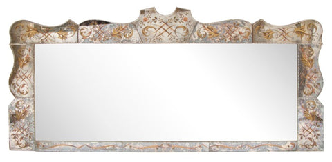 Mid-Century 1960s French Eglomise Long Venetian Overmantle Ornate Mirror