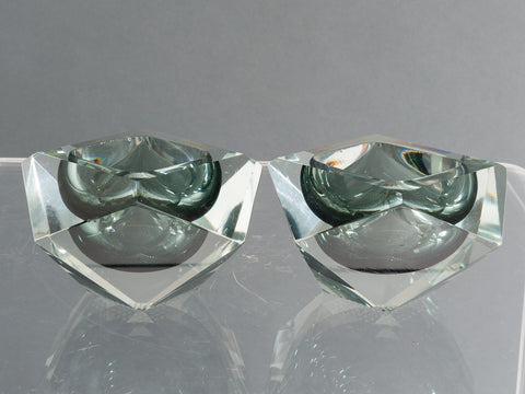 Pair of Murano Faceted Black Glass Ashtrays