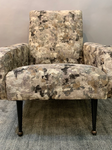 1960s Armchair Reupholstered in Abstract Fabric