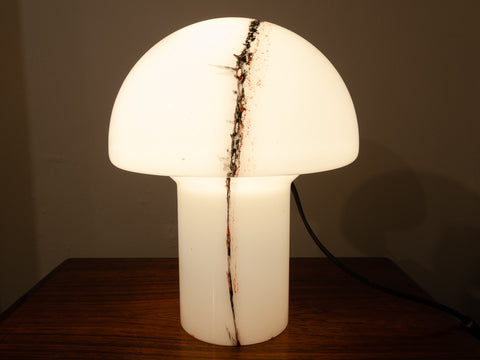 1970's German White Glass Mushroom Table Lamp by Peill & Putzler