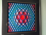 OP ART - CUBED PATTERN VASARELY FRAMED PRINT