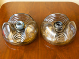 1970's 'Wave' Smoked Flush Mount Lights by Peill & Putzler