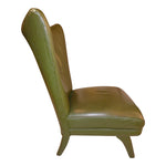 1950s Italian Green leather Wing Back Lounge Chair