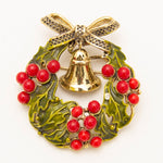 1950s Weiss Christmas Holly Wreath Brooch