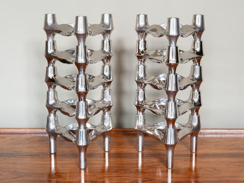 1960's Nagel BMF Chrome Modular Candle Holders