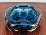 Large Vintage Blue and Clear Polygon Glass Bowl or Ashtray
