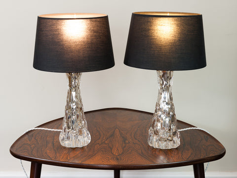 1960s Pair of Small Carl Fagerlund Croco Relief Glass Lamps by Orrefors