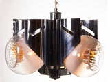1960's Italian Mazzega Murano Glass and Chrome Three-Shade Hanging Light