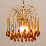 1960s Small Italian Murano Amber Tear Drop Chandelier