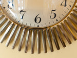 1960's German Richter Quartz Brass Sunburst Battery Operated Wall Clock