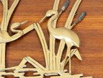 Vintage Brass Wall Sculpture of Herons in Marshland