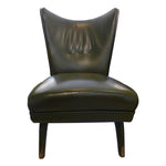 Green leather, Italian wing back, lounge chair