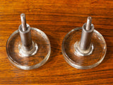 Vintage Pair of Round Glass and Brushed Chrome Internal Door Handles/Hangers