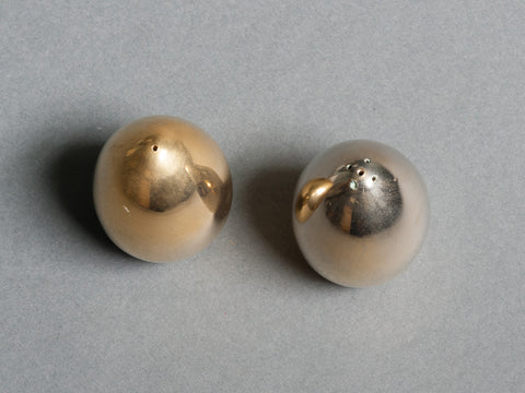 1960s Brass Egg Shaped Salt And Pepper Set