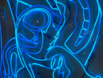 Vintage Large Anthony James Blue Prostrate Neon backed on Perspex