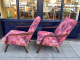 Pair of Czech 1960s Bentwood Armchairs in Linwood Fabric