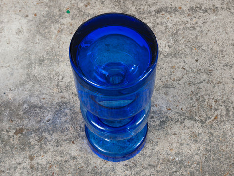 Riihimaki Hooped Blue Glass Vase by Tamara Aladin