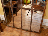 Large Vintage French Rustic Industrial Iron Disused Factory Window Mirror