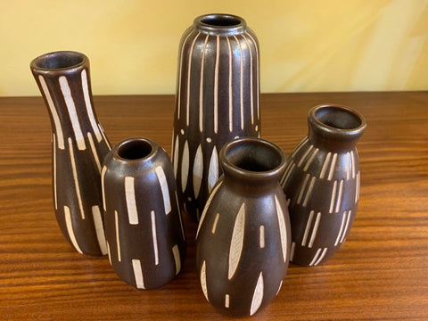 Set of 5 1950s German Anton Piesche Pottery Vases