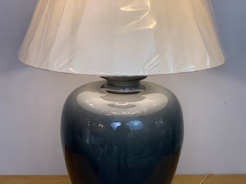 Vintage Very Large Dark Grey Crackle Glazed Porcelain Ceramic Lamp Base
