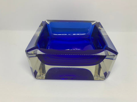 1960s Vintage Italian Murano Blue and Clear Sommerso Glass Ashtray