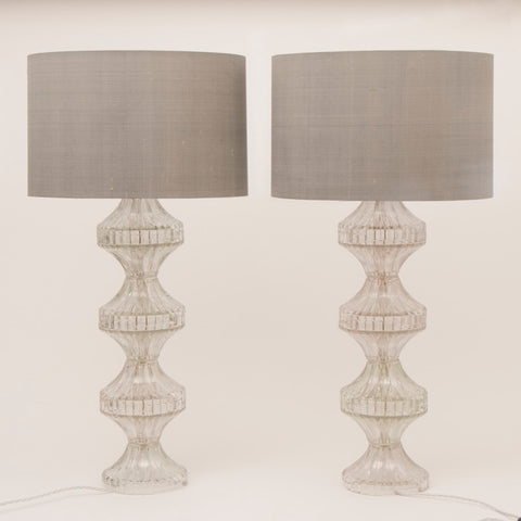 Pair of 1960s Italian Glass Table Lamps inc Shades