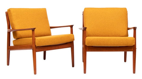 Pair of 1950s Grete Jalk for Glostrup Model 218 Armchairs