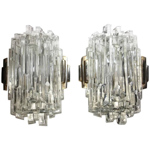 Pair of 1960s French Brass and Ice Block Glass Wall Sconces