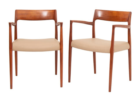 Pair of Niels O Møller Model 57 Teak Carver Armchair Dining Chairs