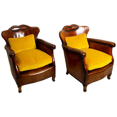 Pair of 1920s Swedish pair of leather club chairs