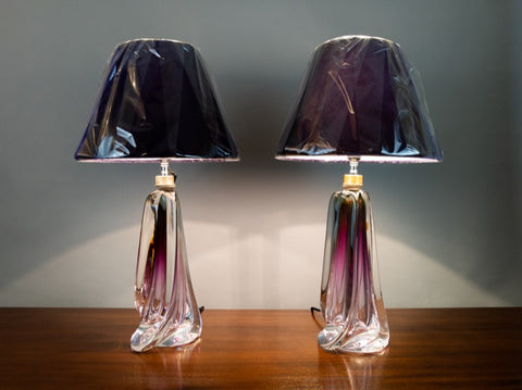 Pair of 1950s Belgian Purple Crystal Glass Val St Lambert Table Lamps