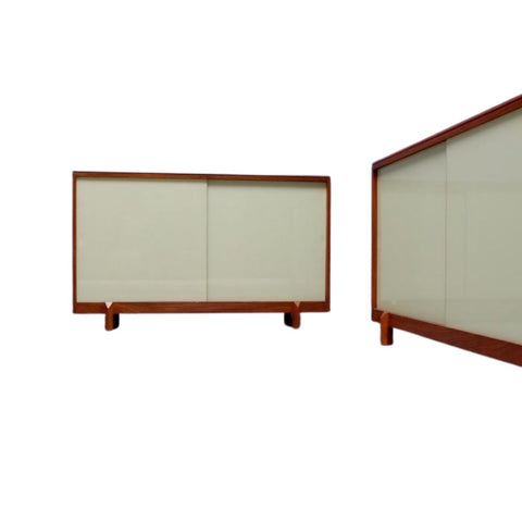 Pair 1950s White & Newton Teak & Sliding Glass Door Cabinet
