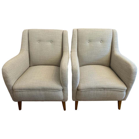 Pair of 1950s French Reupholstered Armchairs