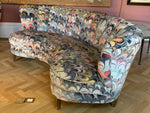 Pair of 1950s German Scalloped Curved Sofas