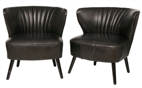 Pair of French 1950s Black Leather Cocktail Chairs