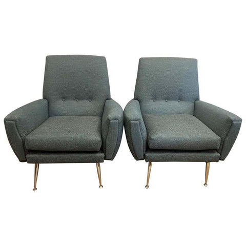 Pair of Vintage Italian 1950s Armchairs in Teal Fabric