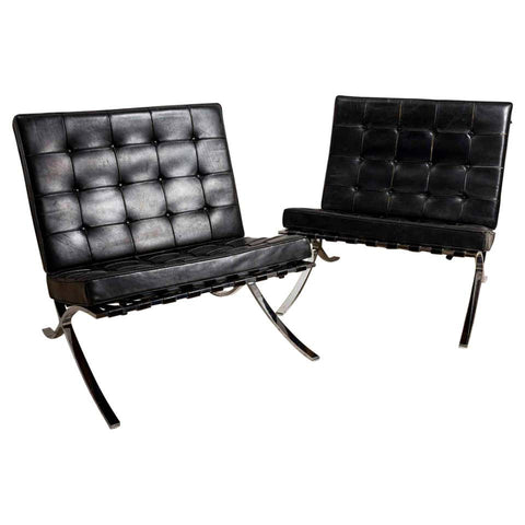 Pair of 1950s Chrome and Black Leather Barcelona Chairs