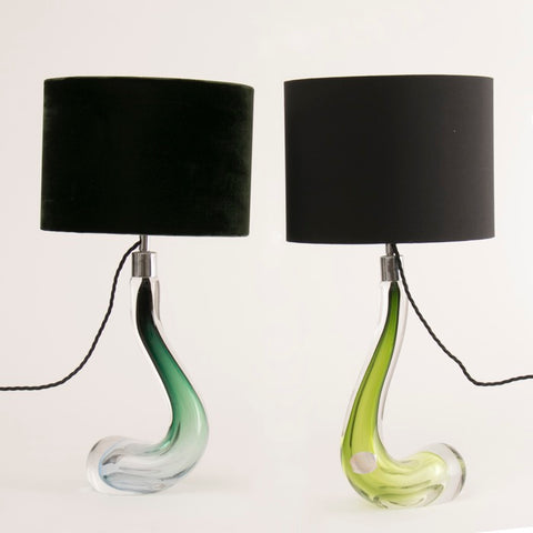 Pair of 1950s Val St Lambert Green Swan Lamps