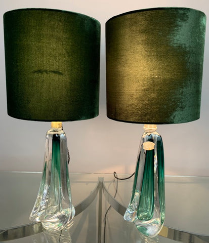 Pair of Val St Lambert Dark Green Crystal Table Lamps