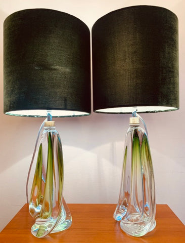 Pair of Val St Lambert Pale Green Crystal Table Lamps