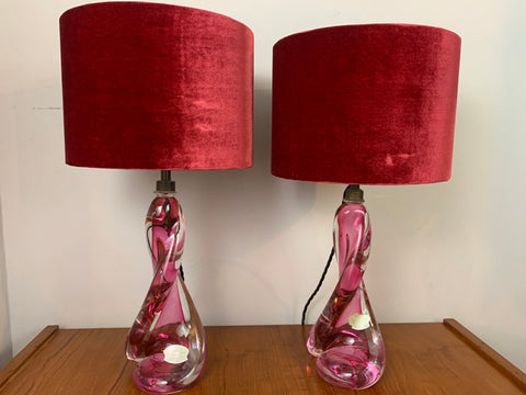 Pair of Val St Lambert Twisted Pink Lamp Bases inc Shades