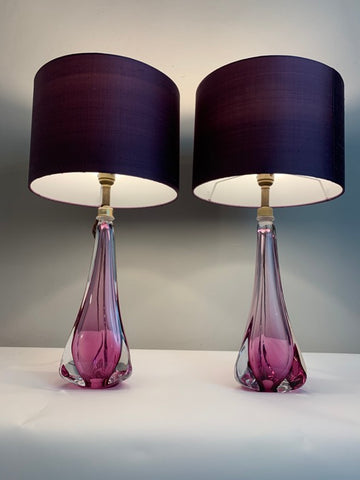 Pair of 1950s Val St Lambert Purple Glass Table Lamps inc shades