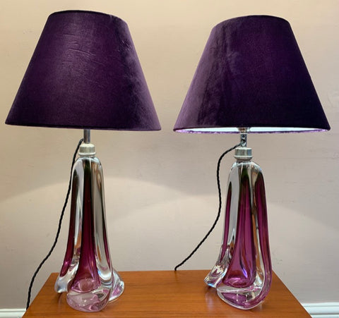 Pair of Val St Lambert Purple Crystal Table Lamps