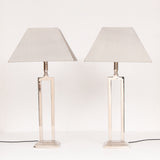 Pair of 1970s Chrome Table Lamps inc Shades