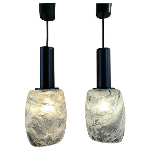 Pair of 1970s Putzler Grey Marbled Pendant Lights