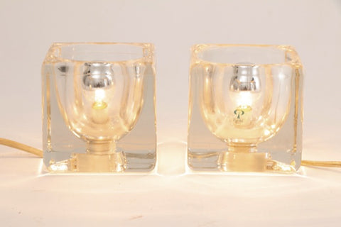Pair of 1970s Peill & Putzler Glass Cube Table Lamps