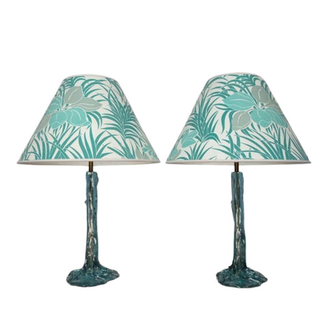 Pair of 1970s Turquoise Resin Table Lamps