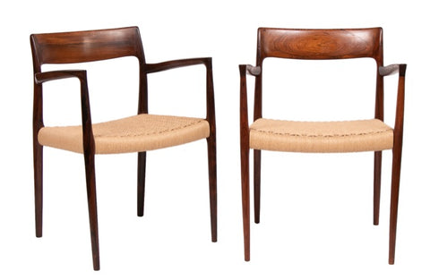 Pair of 1960s Rosewood Niels Moller Model 57 Armchairs