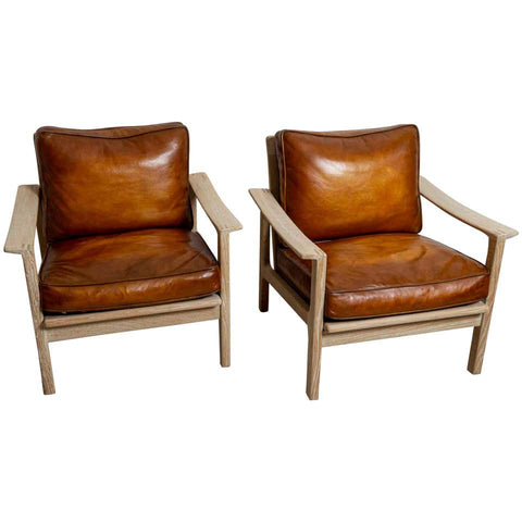 Pair of Børge Mogensen Slatted Oak and Leather Armchairs
