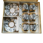 "Rare set of 6 Fornasetti 1959 ""Cammei Oro"" Porcelain Cups & Saucers"